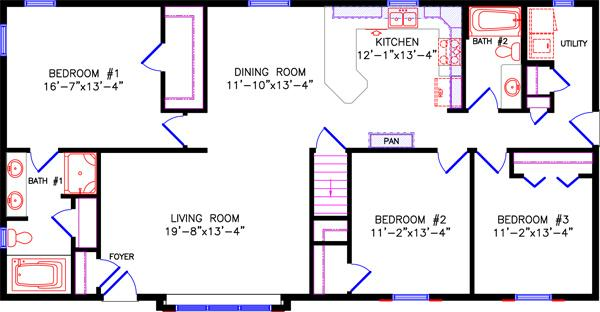 Ranch Ranch House Floor Plans Bedroom Bathroom on 3-bedroom ranch homes, 3-bedroom ranch style house plans, house plans with 5 bedrooms and 3 bathrooms,